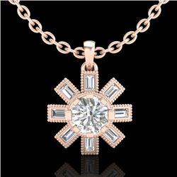 1.33 CTW VS/SI Diamond Solitaire Art Deco Stud Necklace 18K Rose Gold - REF-220N9Y - 37068