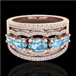 2.25 CTW Sky Blue Topaz & Micro Pave VS/SI Diamond Designer Ring 10K Rose Gold - REF-72W2F - 20794