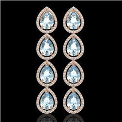 10.56 CTW Aquamarine & Diamond Halo Earrings 10K Rose Gold - REF-228T8M - 41307