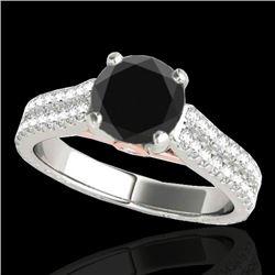 1.61 CTW Certified VS Black Diamond Pave Ring 10K White & Rose Gold - REF-79N8Y - 35461
