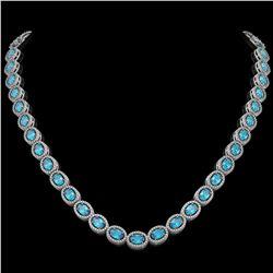 33.25 CTW Swiss Topaz & Diamond Halo Necklace 10K White Gold - REF-506H4A - 40433