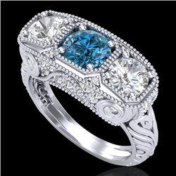 2.51 CTW Intense Blue Diamond Solitaire Art Deco 3 Stone Ring 18K White Gold - REF-345Y5K - 37719