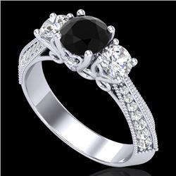 1.81 CTW Fancy Black Diamond Solitaire Art Deco 3 Stone Ring 18K White Gold - REF-180A2X - 38024