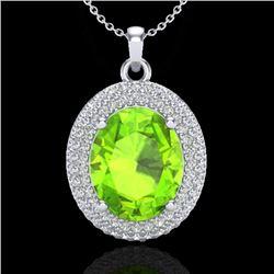 4.50 CTW Peridot & Micro Pave VS/SI Diamond Necklace 18K White Gold - REF-112M8H - 20569