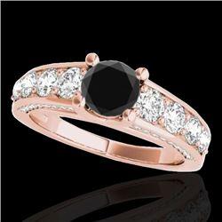 3.05 CTW Certified VS Black Diamond Solitaire Ring 10K Rose Gold - REF-161T8M - 35520