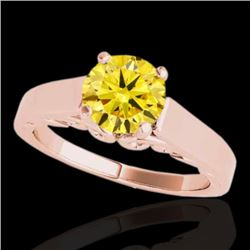1 CTW Certified Si/I Fancy Intense Yellow Diamond Solitaire Ring 10K Rose Gold - REF-209X3T - 35145
