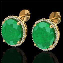 25 CTW Emerald & Micro Pave VS/SI Diamond Halo Earrings 18K Yellow Gold - REF-254T5M - 20271