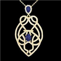 3.50 CTW Tanzanite & Micro VS/SI Diamond Heart Necklace Solitaire 14K Yellow Gold - REF-191T3M - 212