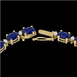 35 CTW Sapphire & VS/SI Diamond Eternity Tennis Necklace 10K Yellow Gold - REF-231W8F - 21604