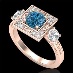 1.55 CTW Intense Blue Diamond Solitaire Art Deco 3 Stone Ring 18K Rose Gold - REF-178M2H - 38175