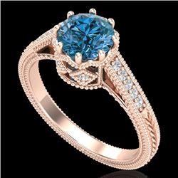 1.25 CTW Fancy Intense Blue Diamond Solitaire Art Deco Ring 18K Rose Gold - REF-195F5N - 37524