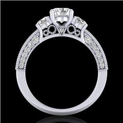 2.07 CTW VS/SI Diamond Solitaire Art Deco 3 Stone Ring 18K White Gold - REF-270T2M - 37016
