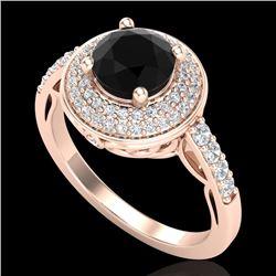 1.7 CTW Fancy Black Diamond Solitaire Engagement Art Deco Ring 18K Rose Gold - REF-143M6H - 38123