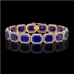 38.61 CTW Sapphire & Diamond Halo Bracelet 10K Rose Gold - REF-392A4X - 41529