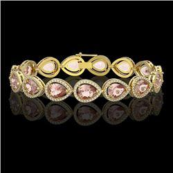 19.55 CTW Morganite & Diamond Halo Bracelet 10K Yellow Gold - REF-480M4H - 41248