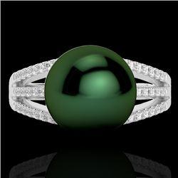 0.30 CTW Micro Pave VS/SI Diamond & Peacock Pearl Ring 18K White Gold - REF-50Y8K - 22628