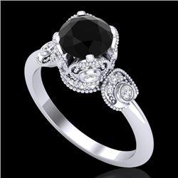 1.75 CTW Fancy Black Diamond Solitaire Engagement Art Deco Ring 18K White Gold - REF-134A5X - 37401
