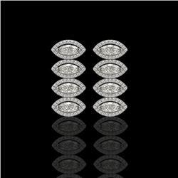 5.33 CTW Marquise Diamond Designer Earrings 18K White Gold - REF-986T2M - 42782