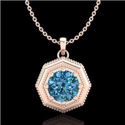 0.75 CTW Fancy Intense Blue Diamond Solitaire Art Deco Necklace 18K Rose Gold - REF-100A2X - 37944