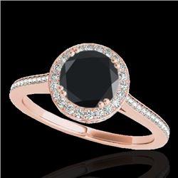 1.55 CTW Certified VS Black Diamond Solitaire Halo Ring 10K Rose Gold - REF-90Y2K - 33530