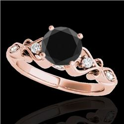 1.15 CTW Certified VS Black Diamond Solitaire Antique Ring 10K Rose Gold - REF-52X2T - 34814