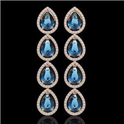 11.2 CTW London Topaz & Diamond Halo Earrings 10K Rose Gold - REF-159T5M - 41319