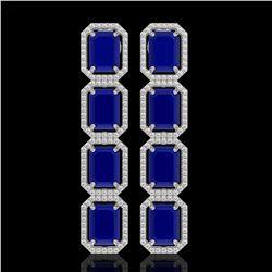 20.59 CTW Sapphire & Diamond Halo Earrings 10K White Gold - REF-213X8T - 41576