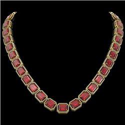 80.32 CTW Tourmaline & Diamond Halo Necklace 10K Yellow Gold - REF-1178N4Y - 41494