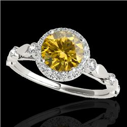 1.25 CTW Certified Si/I Fancy Intense Yellow Diamond Solitaire Halo Ring 10K White Gold - REF-154H5A