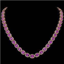 29.38 CTW Amethyst & Diamond Halo Necklace 10K Rose Gold - REF-503Y5K - 40440