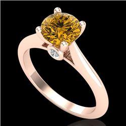 1.36 CTW Intense Fancy Yellow Diamond Engagement Art Deco Ring 18K Rose Gold - REF-227Y3K - 38212