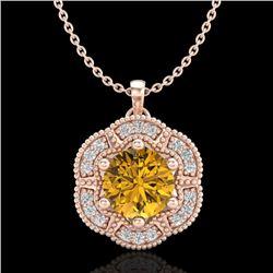 1.01 CTW Intense Fancy Yellow Diamond Art Deco Stud Necklace 18K Rose Gold - REF-136T4M - 37974