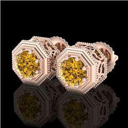 1.07 CTW Intense Fancy Yellow Diamond Art Deco Stud Earrings 18K Rose Gold - REF-132A8X - 37939