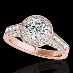 2.56 CTW H-SI/I Certified Diamond Solitaire Halo Ring 10K Rose Gold - REF-392K8W - 34052