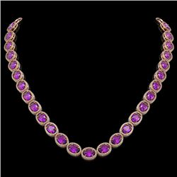 45.16 CTW Amethyst & Diamond Halo Necklace 10K Rose Gold - REF-560T2M - 40593