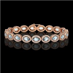 11.02 CTW Aquamarine & Diamond Halo Bracelet 10K Rose Gold - REF-258N8Y - 40476