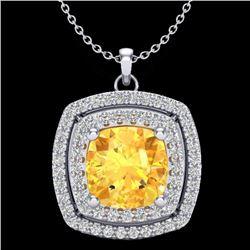 1.77 CTW Citrine & Micro Pave VS/SI Diamond Halo Necklace 18K White Gold - REF-63A5X - 20452