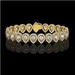 15.85 CTW Pear Diamond Designer Bracelet 18K Yellow Gold - REF-2890A8X - 42772