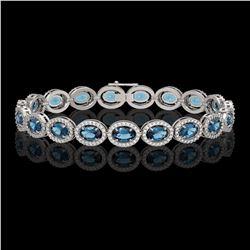 14.82 CTW London Topaz & Diamond Halo Bracelet 10K White Gold - REF-232M5H - 40487