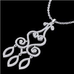 1.60 CTW VS/SI Diamond Micro Pave Designer Necklace 14K White Gold - REF-138M5H - 22419