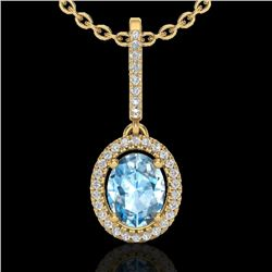 2 CTW Sky Blue Topaz & Micro VS/SI Diamond Necklace Halo 18K Yellow Gold - REF-58K2W - 20654