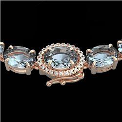 36.25 CTW Aquamarine & VS/SI Diamond Eternity Tennis Micro Halo Necklace 14K Rose Gold - REF-321N8Y