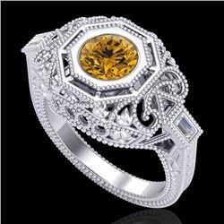 1.13 CTW Intense Fancy Yellow Diamond Engagement Art Deco Ring 18K White Gold - REF-309F3N - 37826