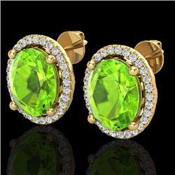 5 CTW Peridot & Micro Pave VS/SI Diamond Earrings Halo 18K Yellow Gold - REF-82F2N - 21061