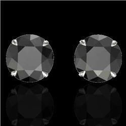 4 CTW Black VS/SI Diamond Designer Inspired Stud Earrings 18K White Gold - REF-125N5Y - 21815