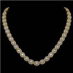 30.41 CTW Oval Diamond Designer Necklace 18K Yellow Gold - REF-5531M8H - 42616