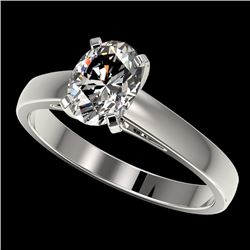 1.25 CTW Certified VS/SI Quality Oval Diamond Solitaire Ring 10K White Gold - REF-372F3N - 33010