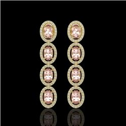 6.09 CTW Morganite & Diamond Halo Earrings 10K Yellow Gold - REF-130Y8K - 40516
