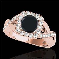 2 CTW Certified VS Black Diamond Solitaire Halo Ring 10K Rose Gold - REF-91W3F - 33320
