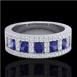 1.75 CTW Tanzanite & Micro Pave VS/SI Diamond Inspired Ring 10K White Gold - REF-64M4H - 20831